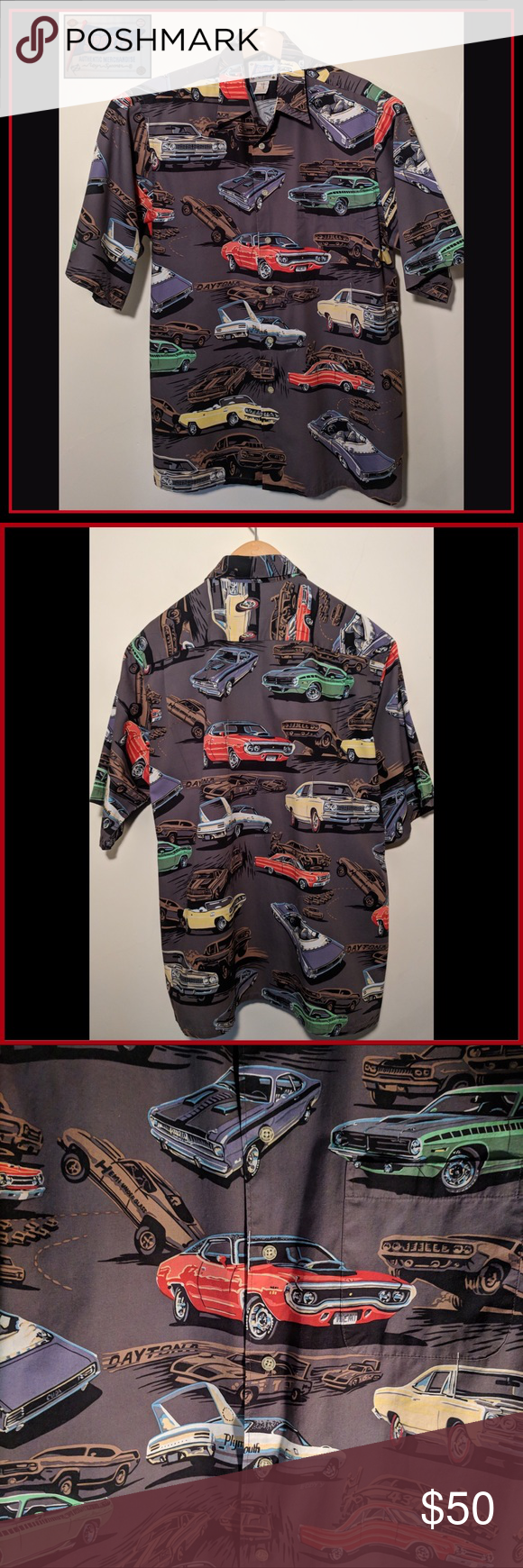 17d7c5b9 Reyn Spooner Eddy y Mopar Hawaiian Shirt Large EUC Reyn Spooner/Reyn Sports Mopar  Shirt! Charcoal grey background with colorful classic race cars.
