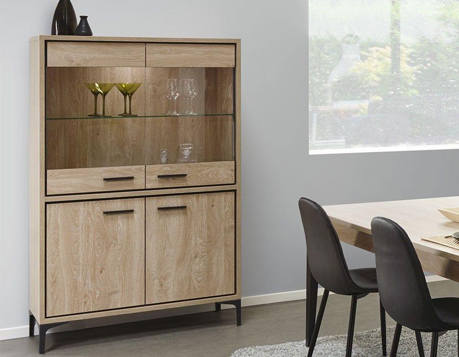 Meuble de salle à manger moderne bois clair et noir | HcommeHome ...