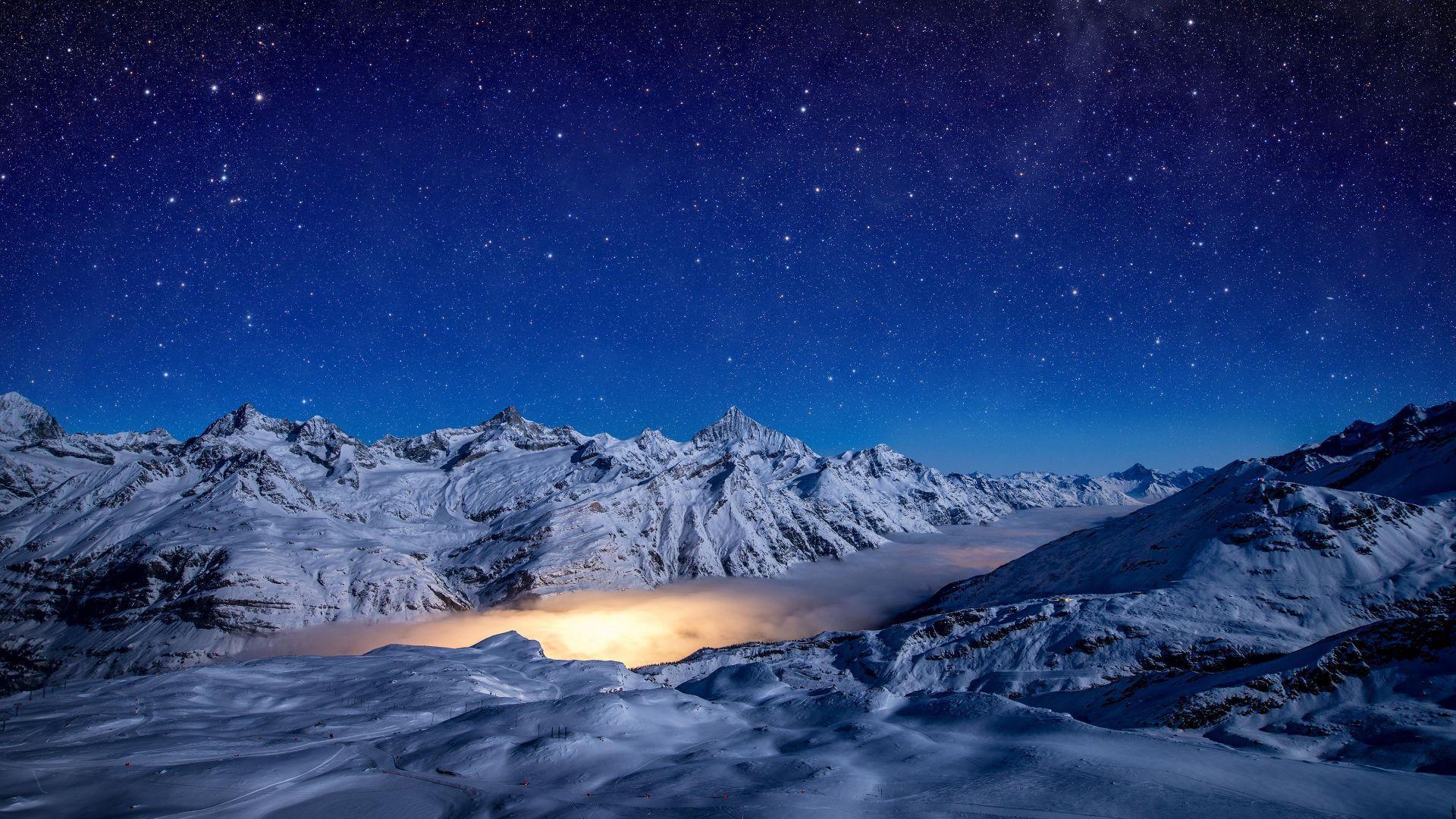 Night Mountains Sky Stars 4k Horizontal Sky Pictures Mountain Wallpaper Night Skies