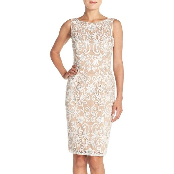 Women's Adrianna Papell Sequin Embroidered Bateau Neck Sheath Dress (€105) ❤ liked on Polyvore featuring dresses, ivory, sheath cocktail dress, v neck cocktail dress, sequin cocktail dresses, sleeveless cocktail dress and pink sequin dress