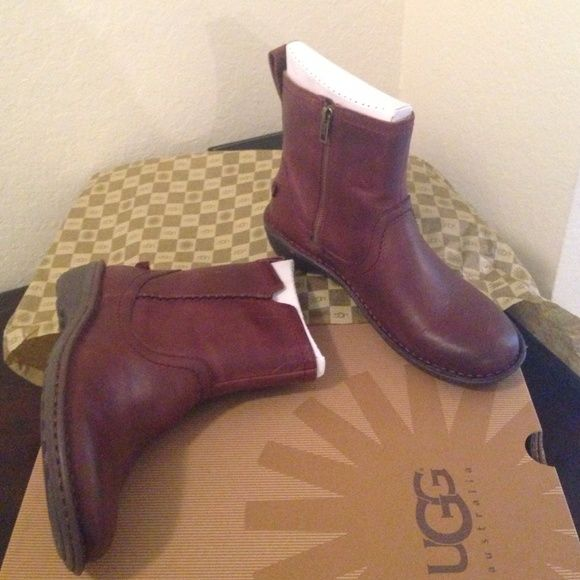 Ladies UGG Leather Boots Brand new! Never worn. Brown leather. Size zips. UGG Shoes