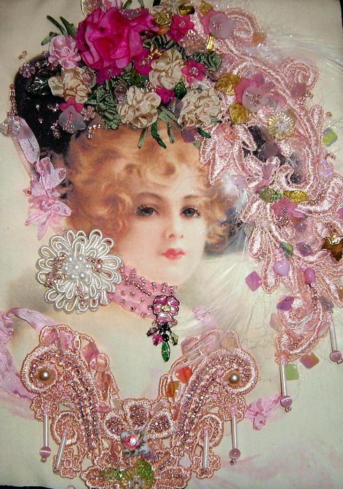 Pink Victorian Lady embellished wall hanging quilt close up www.candy4me.etsy.com
