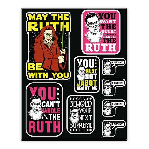 You Can T Handle The Ruth Sticker And Decal Sheets Lookhuman Feminist Sticker Vinyl Sticker Wellness Design