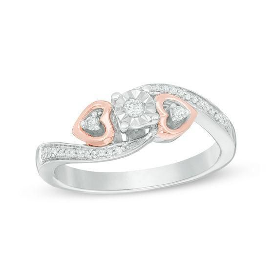 Zales 1/10 CT. T.w. Diamond Composite Bypass Promise Ring in Sterling Silver and 14K Rose Gold Plate XKe2TPr