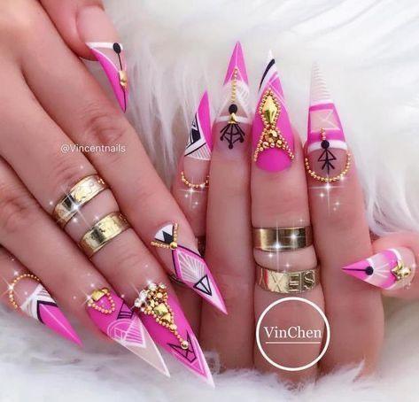 cookiepower50 in 2020  stiletto nails designs geometric