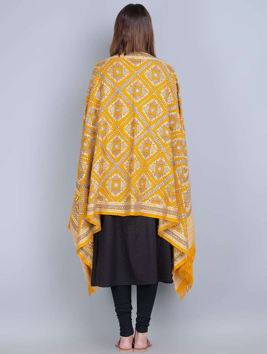 8edd990619 Buy Mustard-Multi-Color Wool Hand Embroidered Shawl Online at Jaypore.com