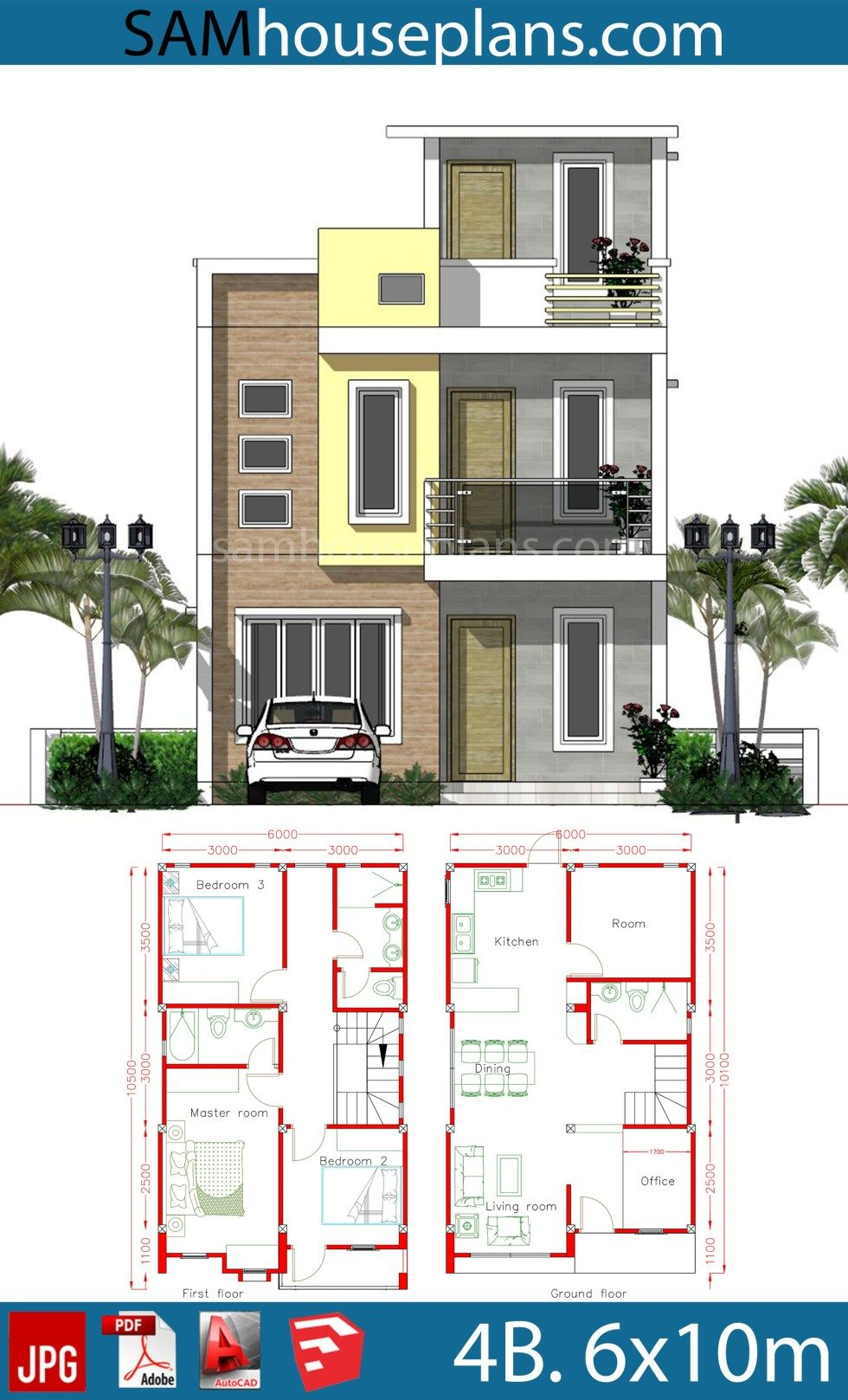House Plans 6x10m With 4 Rooms Sam House Plans 2bhk House Plan Duplex House Plans 20x30 House Plans
