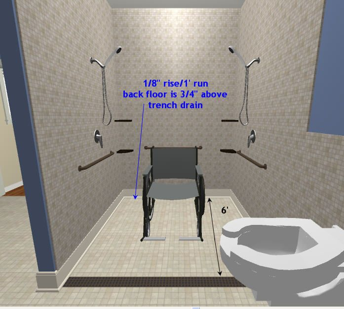 Image Result For Wheelchair Accessible Roll In Shower Bathroom