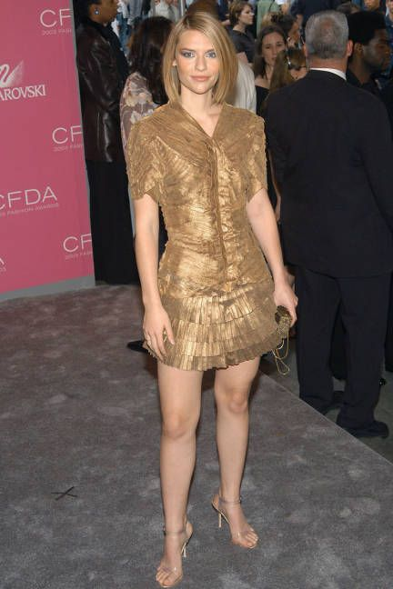 Claire Danes in a gold Zac Posen mini dress at the CFDA Awards - June 2, 2003