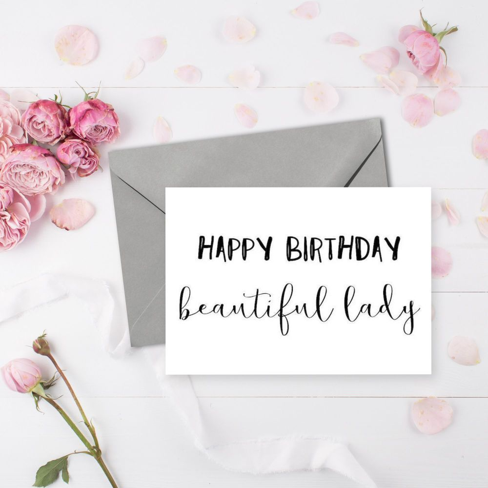 Handmade Happy Birthday Card For The Beautiful Lady In Your Life