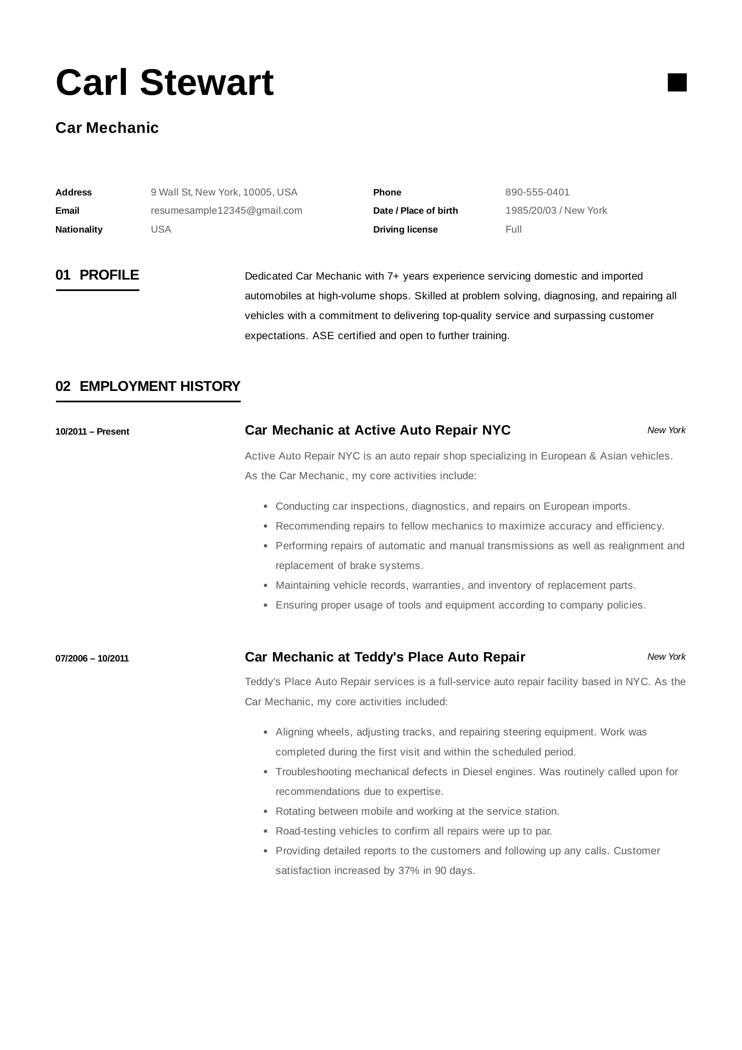 Auto Mechanic Resume Sample Free Car Mechanic Resume Sample Template Example Cv Formal .