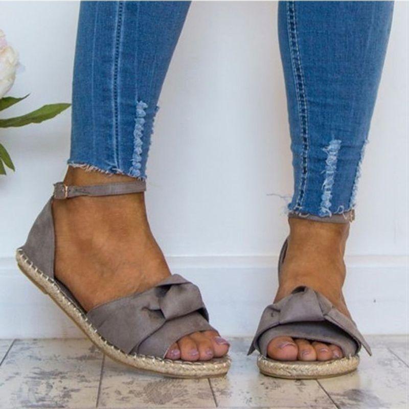 113898d0ca97 Dámske sandále Plus Size 35 44 Byty sandále 2018 Letné topánky Žena Peep  Toe Casual topánky Nízke podpätky Sandalias Mujer Black-in Low Podpätky od  topánok ...