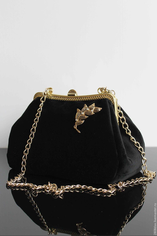 Купить Бархатная сумочка, вечерняя сумочка, черная сумка, вечерняя сумка - сумочка ручной работы