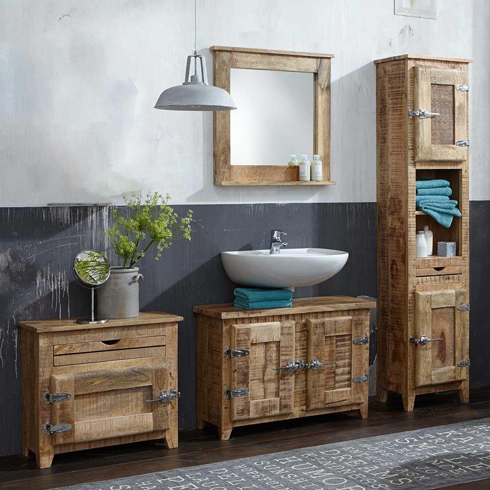 Mango Holz Badezimmermöbel Im Set Shabby Chic Suennas 4 Teilig Badezimmer Set Shabby Chic Design Holz Badmöbel