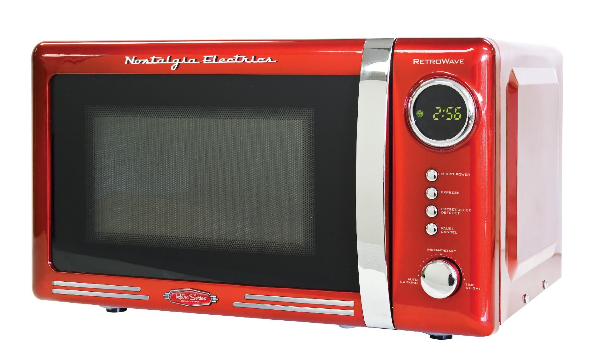 Add A Bit Of Colorful Fun To Your Kitchen Style With The Red Retro Microwave Oven