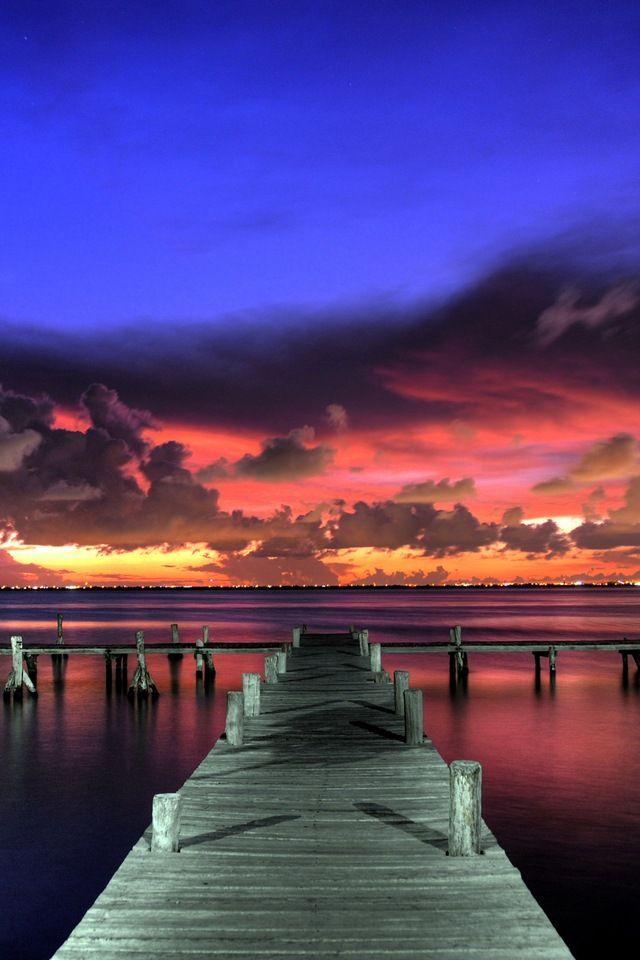 Wharf Wallpaper for iPhone HD, Background 640x960   Pretty   Sunset wallpaper, Summer sunset ...