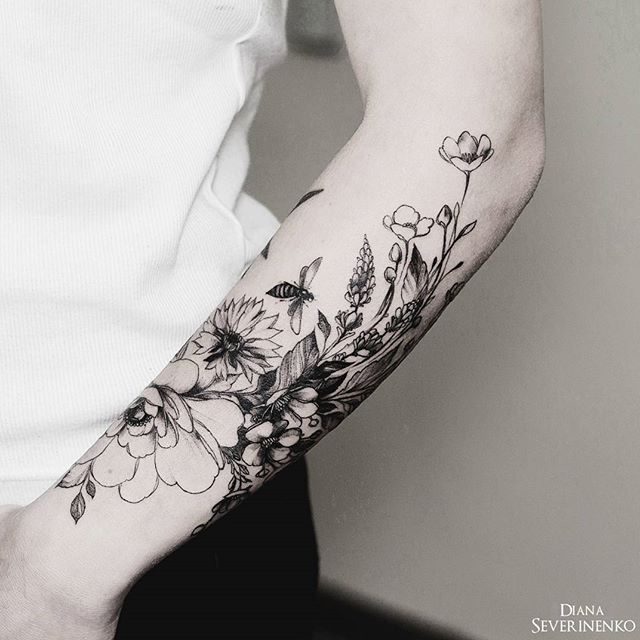 floral illustration tattoo - dianaseverinenko