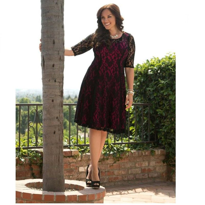 Womens Plus Size Sweet Leah Lace Dress 6xl 7xl Big Size Clothing