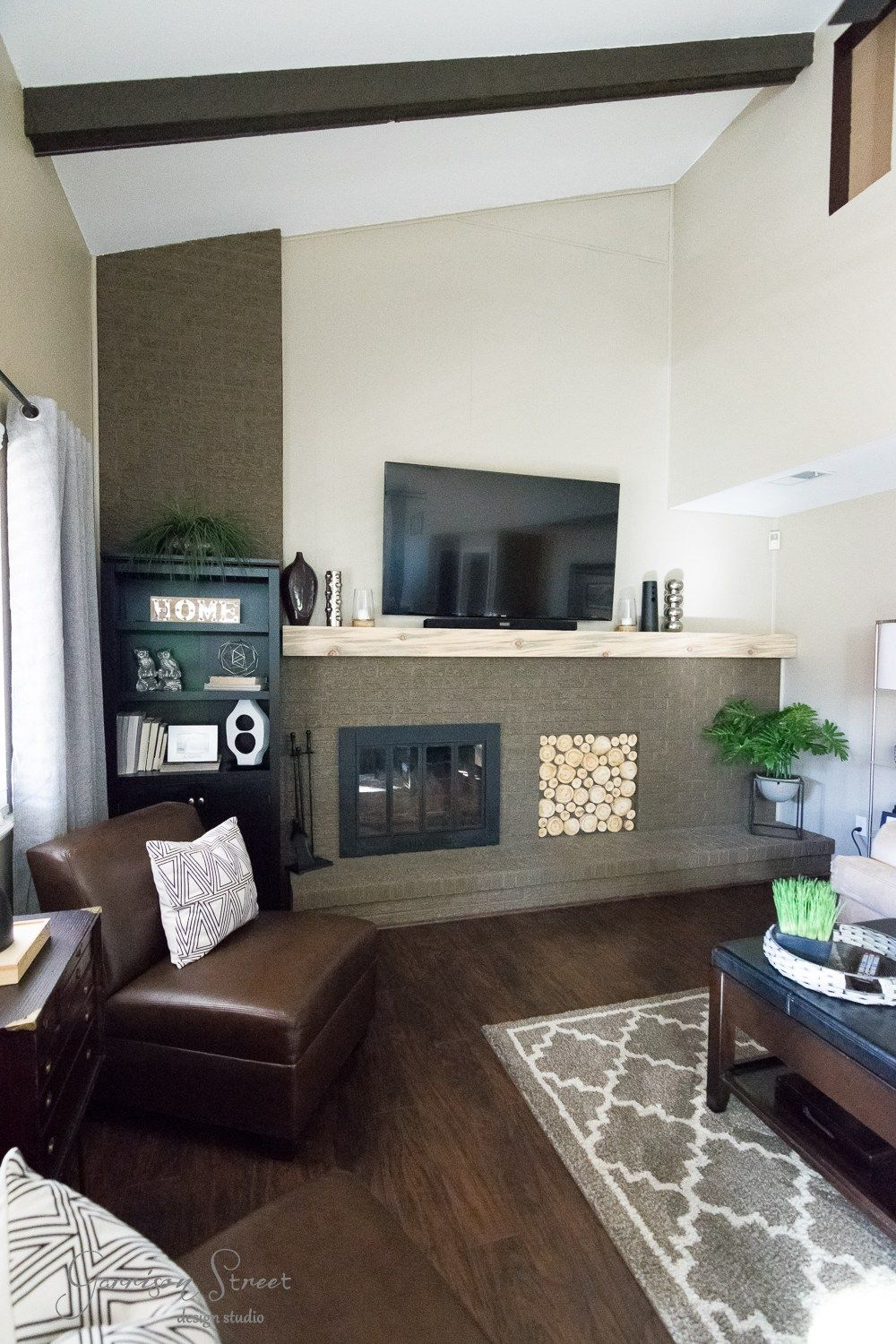 Family Room Makeover with DIY Mantel Brick fireplace