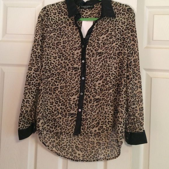 Animal print blouse Sheer blouse with faux leather collar and cuffs. Tops Blouses