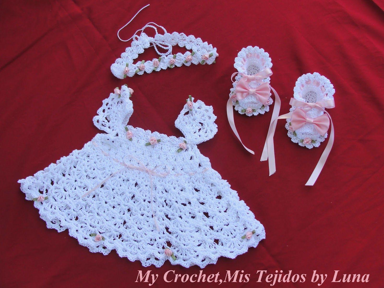 My Crochet , Mis Tejidos by Luna: Newborn Dress and ooties-Vestidito para recien Nac...