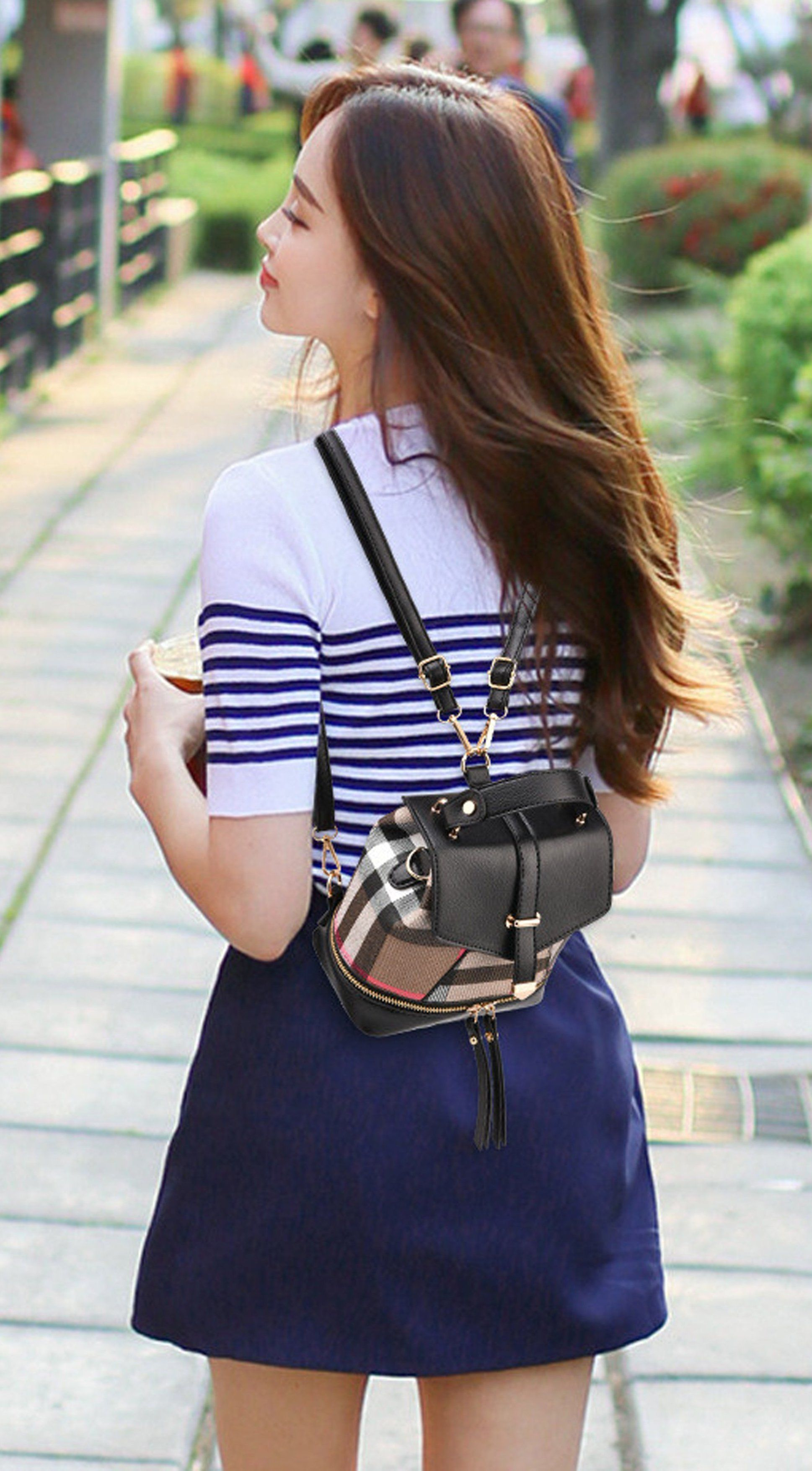 Cute Summer Outfit Ideas for Teen Girls with Skirt and Mini Backpack in  Plaid - Ideas lindas del equipo del verano para las muchachas adolescentes  - www. 1eb7f2dfe345b