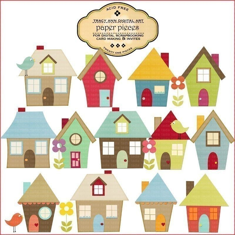 House Digital Paper Pieced Houses perfect for Invites ...