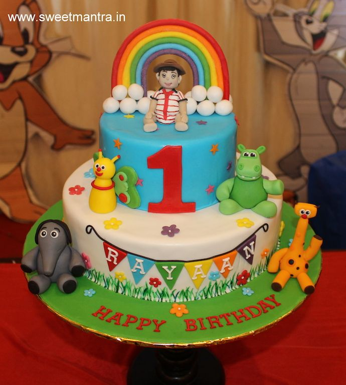 Baby TV Rainbow theme customized 2 layer colorful designer birthday
