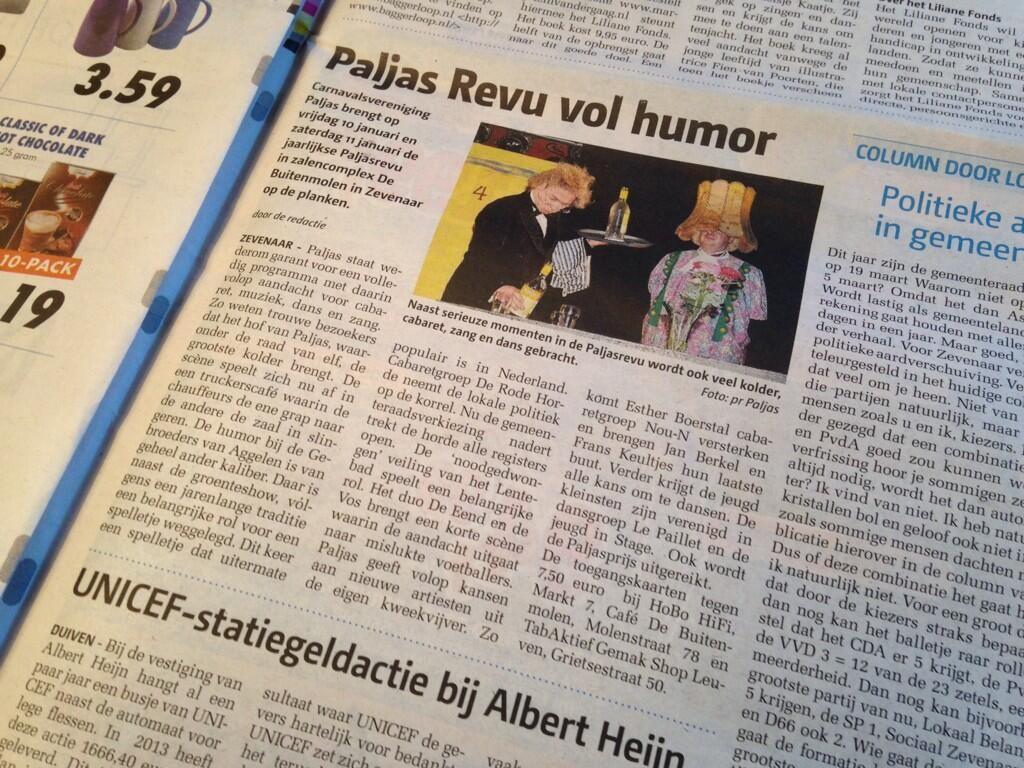 Leuk stuk over de Paljas Revu in de #Zevenaar Post van vandaag! Kijk voor meer info op: http://www.paljas.nl/revu. Donderdag 9 januari 2014. via twitter @Carnavalsvereniging Paljas.
