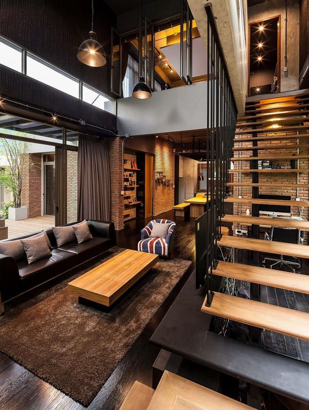 Industrial Living Room Design Modern Industrial Living Two House In Bangkok  Industrial Living