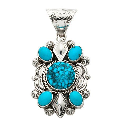 Chaco Canyon Ithaca Peak and Sleeping Beauty Turquoise 5-Stone Sterling Silver