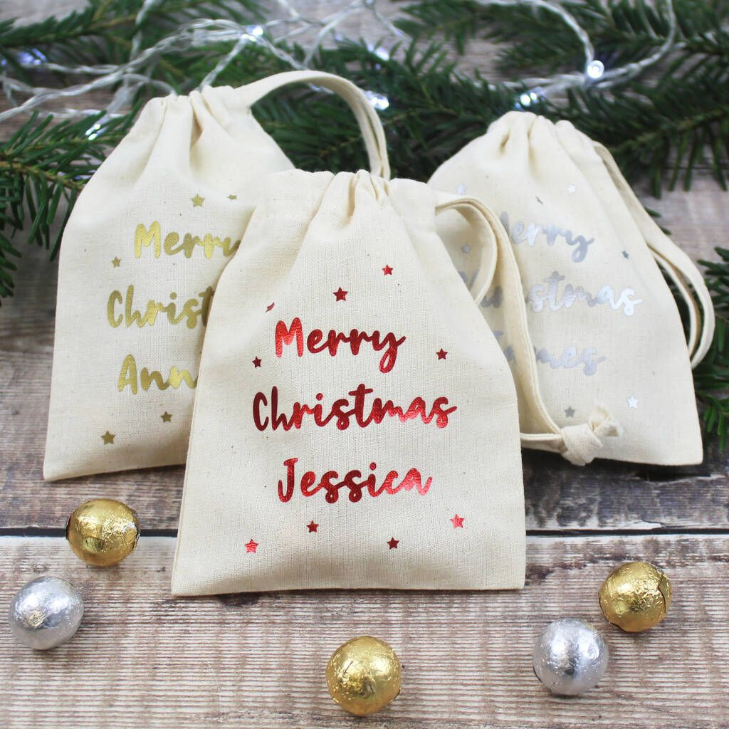Merry Christmas Personalised Mini Gift Bags In 2020 Mini Gift Bags Personalized Christmas Personalized Christmas Gifts
