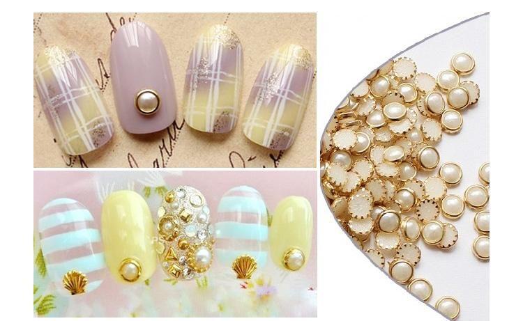 [Visit to Buy] 1000PCS 4mm pearl White Pearl Rivet Mini Pearl Gems with Gold 3D Nail Art Flatback Bling Gems Resin Acrylic Flat back,YT&2121201 #Advertisement