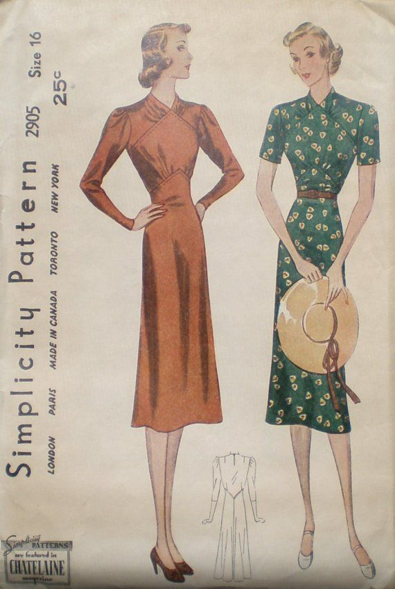1930s Dress with Gathers at Yoke and Waist Simplicity 2905 | retro ...