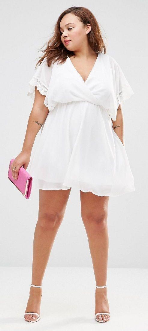 Plus size skater dress white