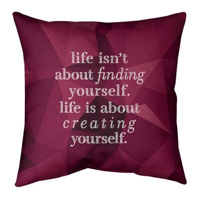 East Urban Home Faux Gemstone Creating Yourself Quote Pillow Size 26 X 26 Colour Rubellite Gold Be Yourself Quotes Love Yourself Quotes Love Friendship Quotes