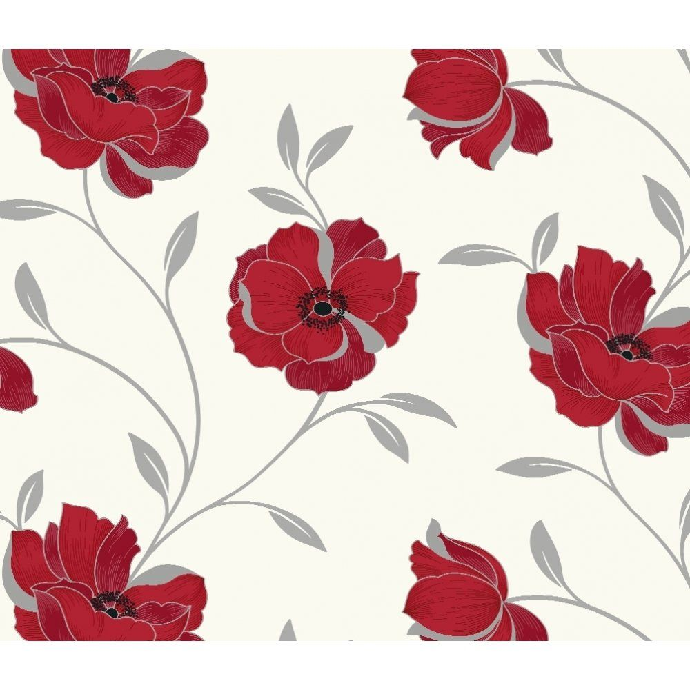 Red And White Patterned Wallpaper: Arthouse Wallpaper Sophia Motif Floral Red And White