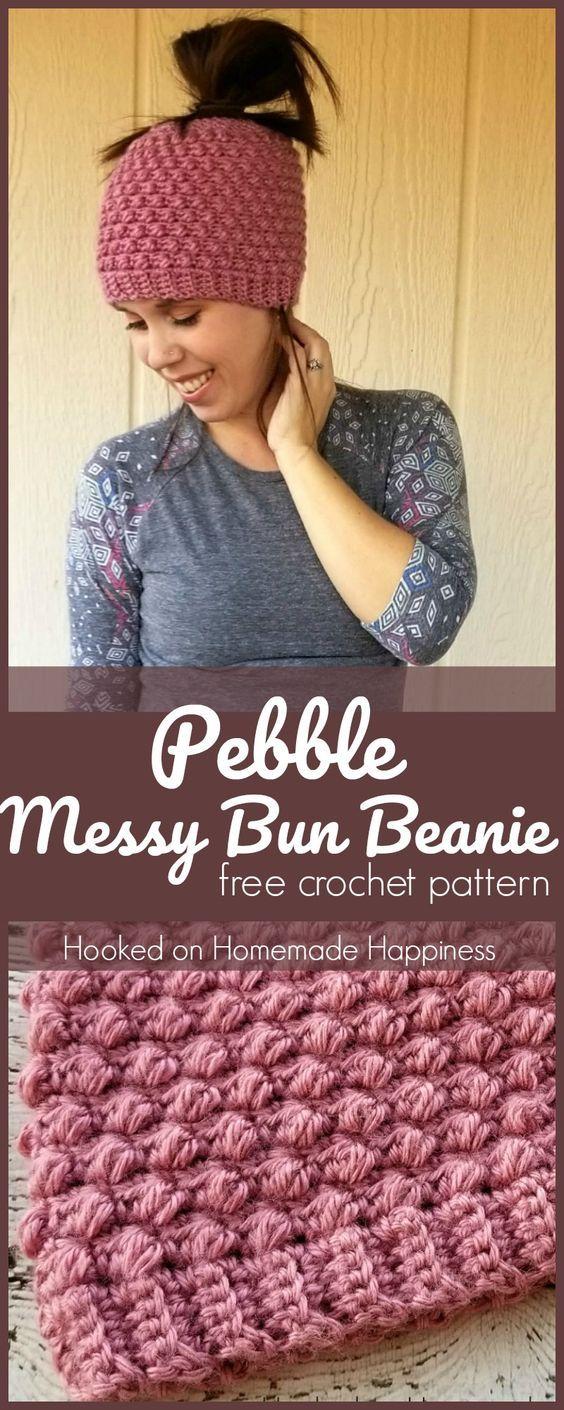 Pebble Messy Bun Beanie Crochet Pattern | Gatos de ganchillo ...