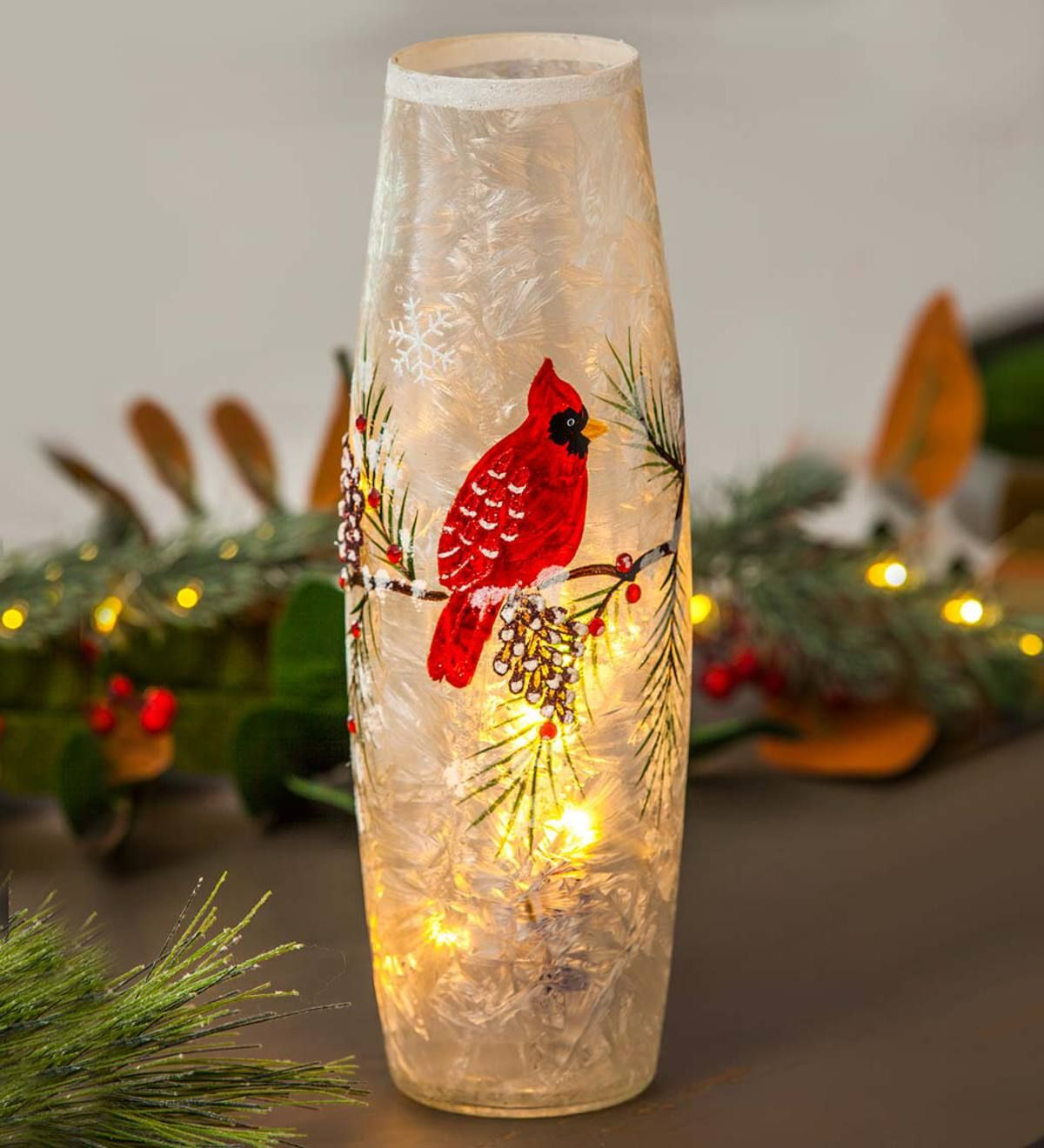 Gift Craft Cardinal in Tree Glass Christmas Candle Holder