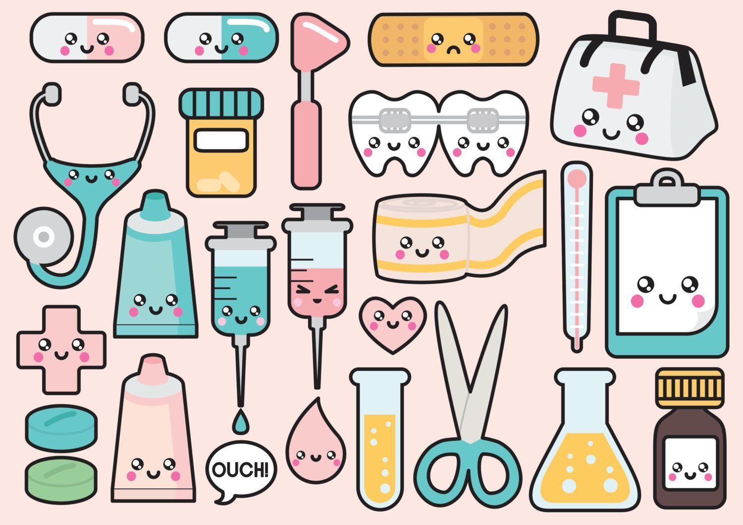 high quality vector clipart cute doctor vector clip art kawaii medical clipart set kawaii clipart this set features kawaii bandaid stethoscope  [ 1500 x 1060 Pixel ]