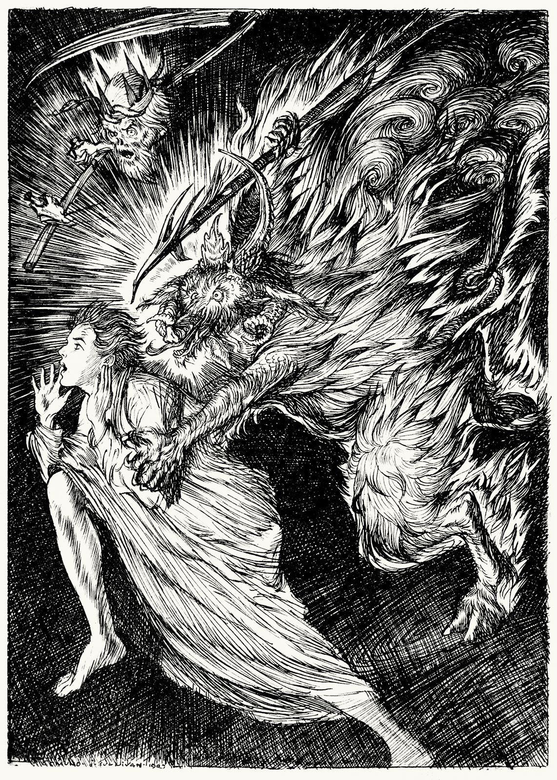 A Boy Rushed Into The Hall Edmund Joseph Sullivan From Sintram His Companions By Friedrich De La Motte Fouque London 1 Vintage Illustration Art Sullivan