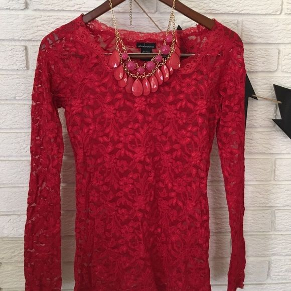 Red lace MODA from Express long sleeved top Red lace long sleeved top. MODA from Express. Express Tops