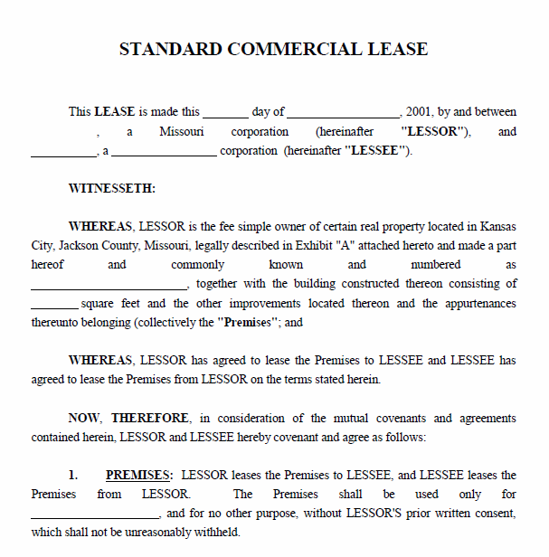 Printable Sample Commercial Lease Agreement Form Real