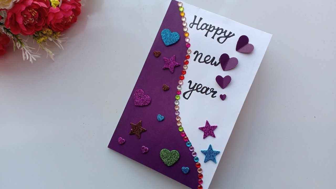 Image Result For Happy New Year Greeting Card New Year Cards Handmade New Year Greeting Cards Greeting Cards Diy