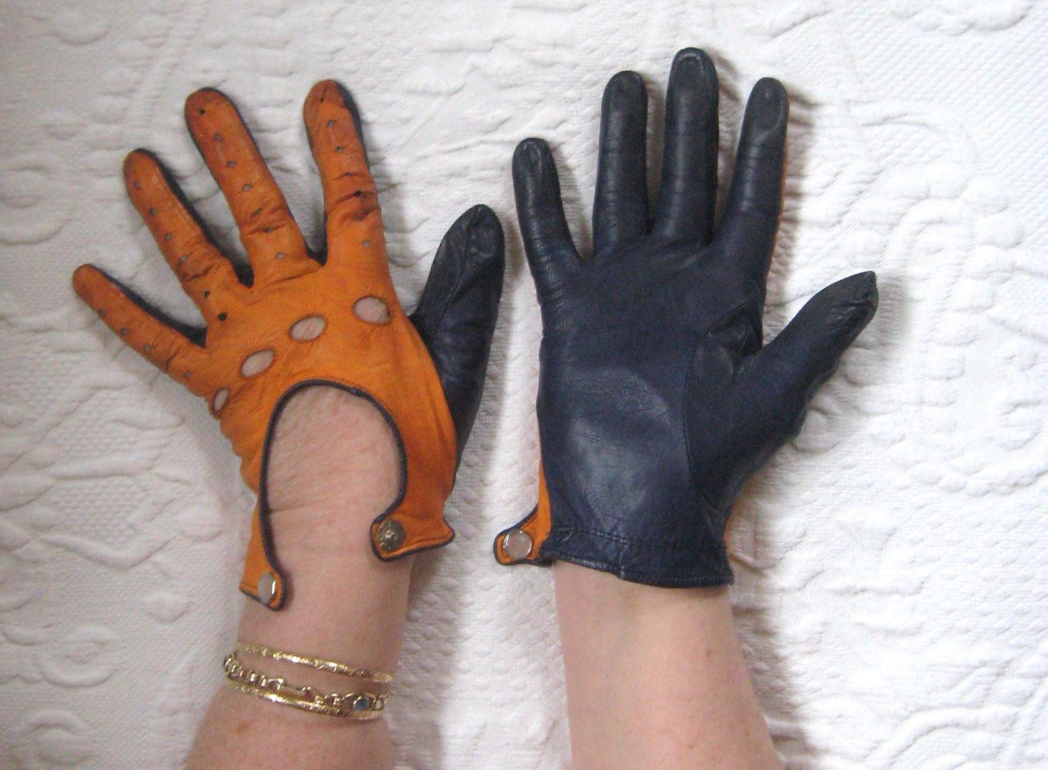 Blue leather driving gloves - Orange And Blue Kid Leather Gloves Kid Gloves Orange And Blue Driving Gloves Driving Gloves