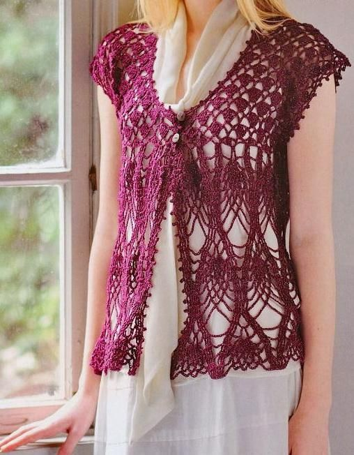 Stylish Women Vest Using Japanese Crochet Yarns From Richmore