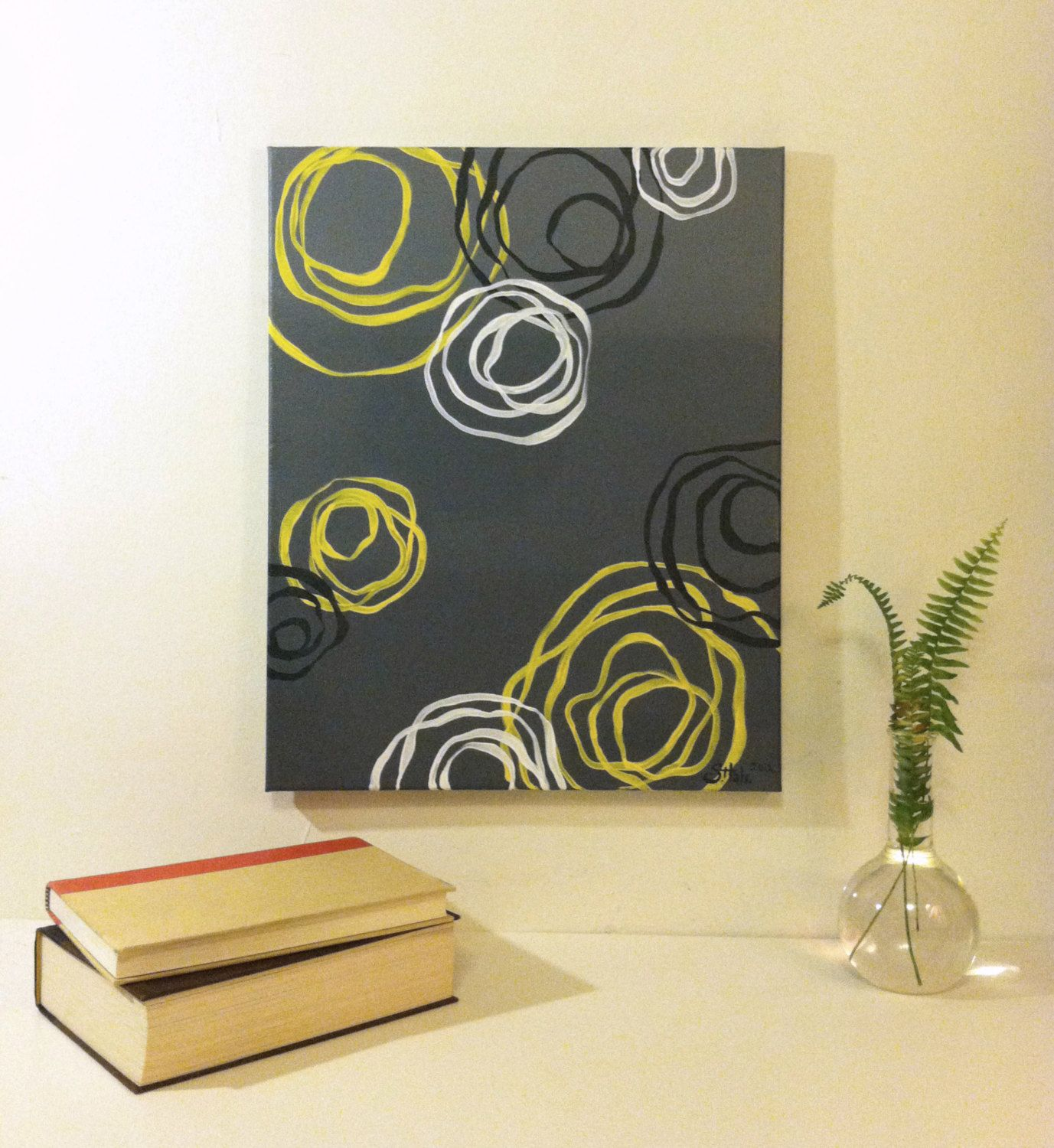 Yellow and grey abstract painting acrylic on by BluebirdBlackjack ...