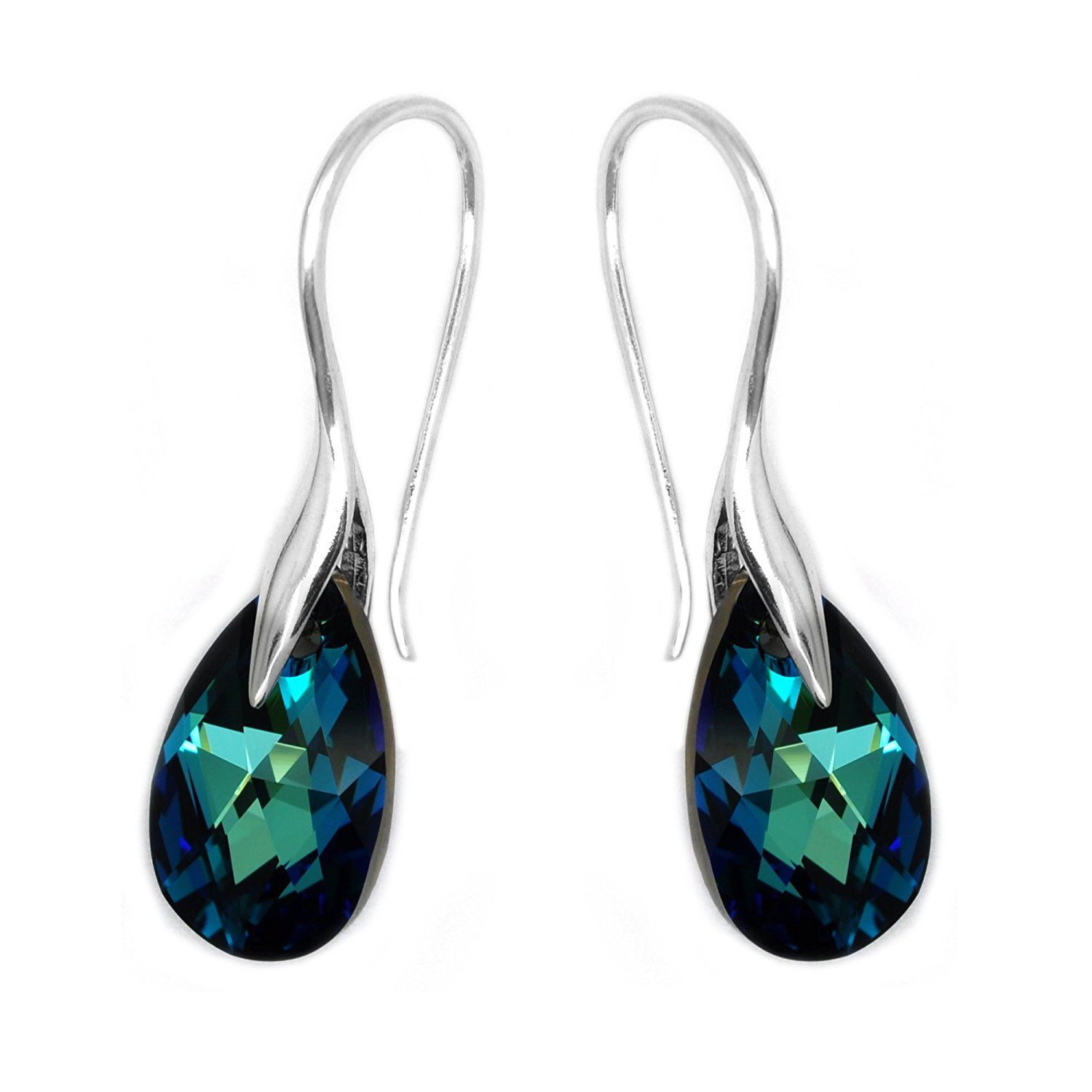 Sterling Silver 925 Blue Made with Swarovski Crystals Drop Hook Pierced Earrings >>> Click image to review more details. (This is an affiliate link and I receive a commission for the sales)