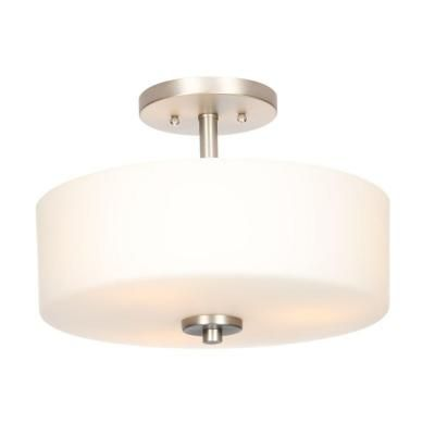 H&ton Bay 14 in. 3-Light Brushed Nickel Semi-Flushmount with White Glass Drum Shade-89543 - The Home Depot  sc 1 st  Pinterest & Hampton Bay 14 in. 3-Light Brushed Nickel Semi-Flushmount with White ...
