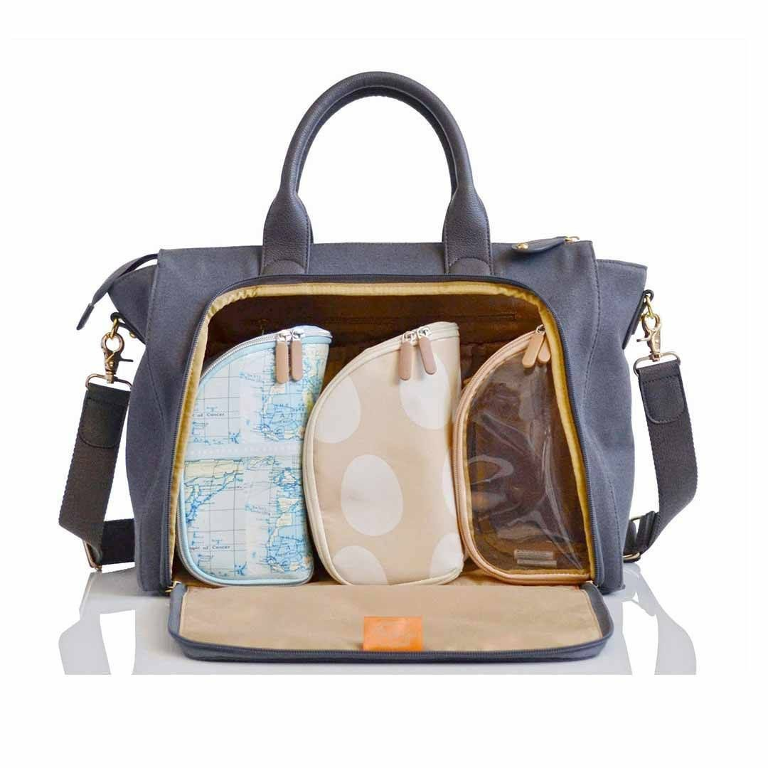 aeaf38a165e3e The PacaPod Croyde Changing Bag in Pewter is the perfect bag for weekend  getaways and trips to the park. Made from a canvas outer, faux leather  trims and ...